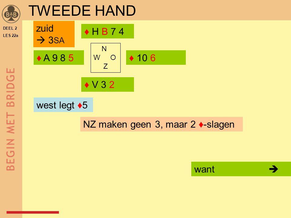 TWEEDE HAND zuid  3SA ♦ H B 7 4 ♦ A 9 8 5 ♦ 10 6 ♦ V 3 2 west legt ♦5