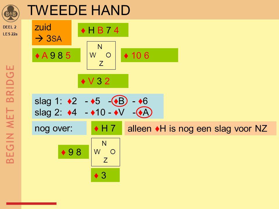 TWEEDE HAND zuid  3SA ♦ H B 7 4 ♦ A 9 8 5 ♦ 10 6 ♦ V 3 2