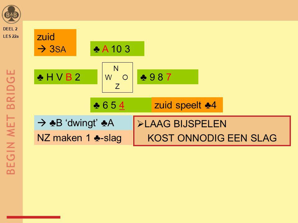 zuid  3SA ♣ A 10 3 ♣ H V B 2 ♣ 9 8 7 ♣ 6 5 4 zuid speelt ♣4