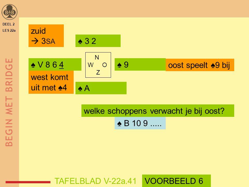 welke schoppens verwacht je bij oost ♠ B 10 9 .....