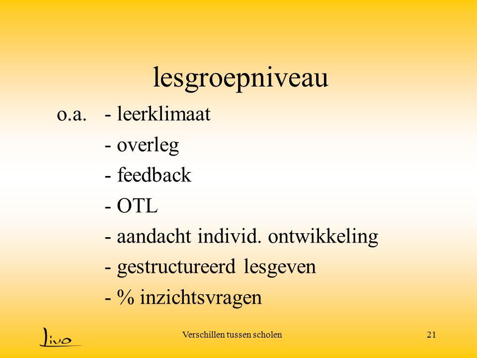 lesgroepniveau o.a. - leerklimaat - overleg - feedback - OTL