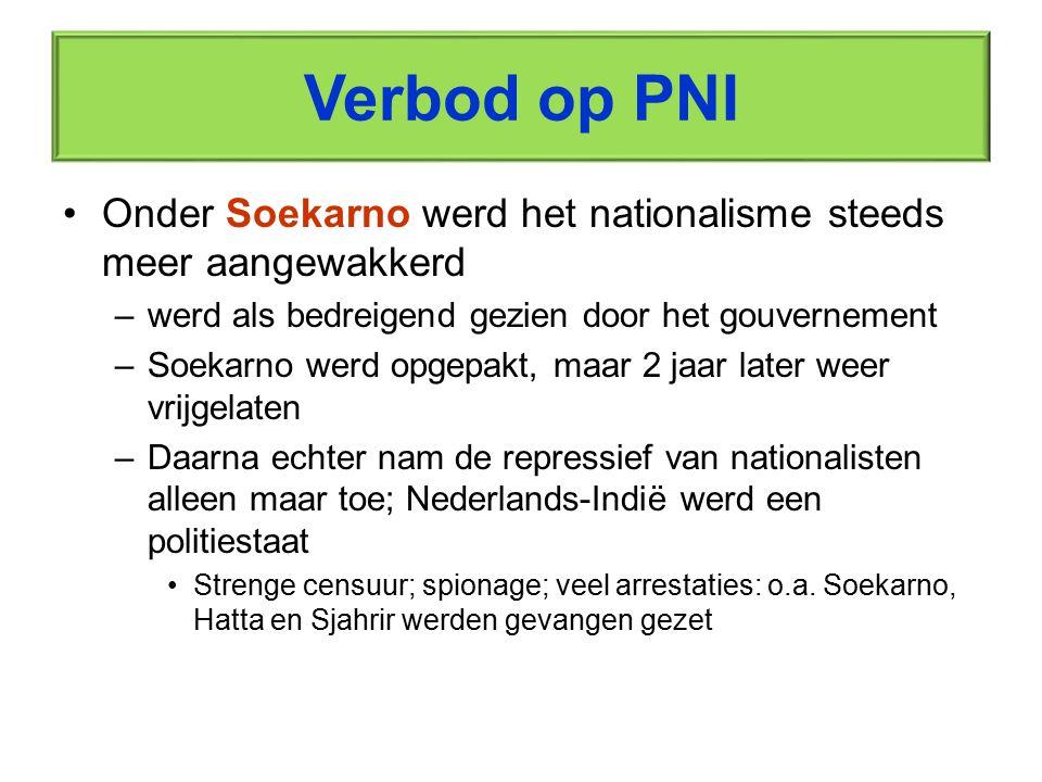Verbod op PNI Onder Soekarno werd het nationalisme steeds meer aangewakkerd. werd als bedreigend gezien door het gouvernement.