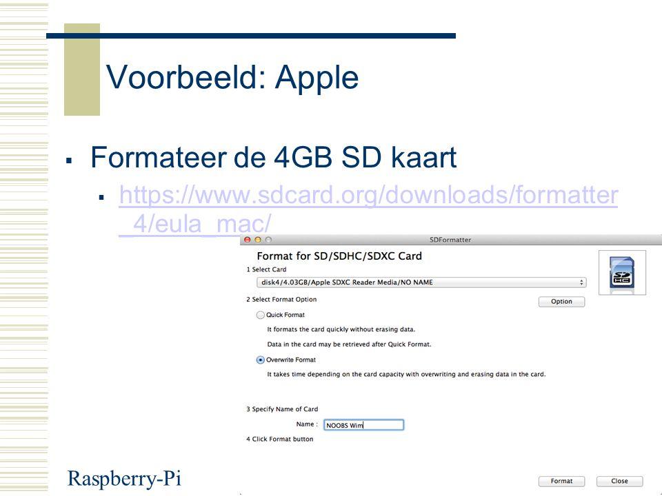 Voorbeeld: Apple Formateer de 4GB SD kaart
