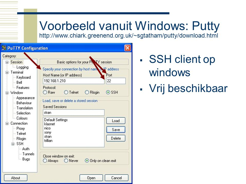 Voorbeeld vanuit Windows: Putty http://www. chiark. greenend. org