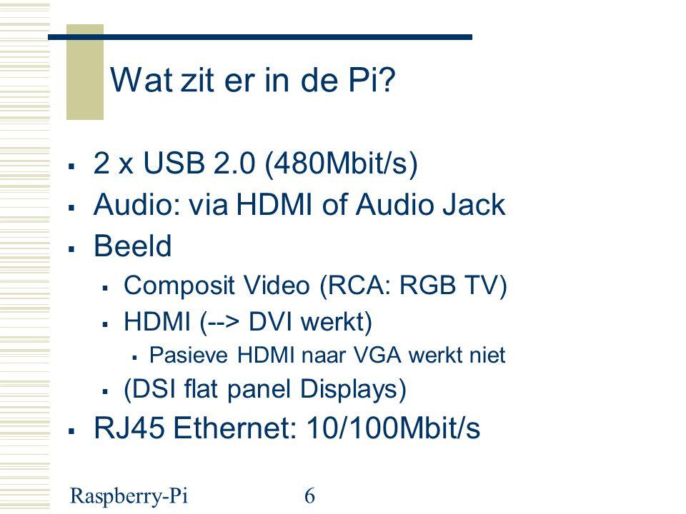 Wat zit er in de Pi 2 x USB 2.0 (480Mbit/s)