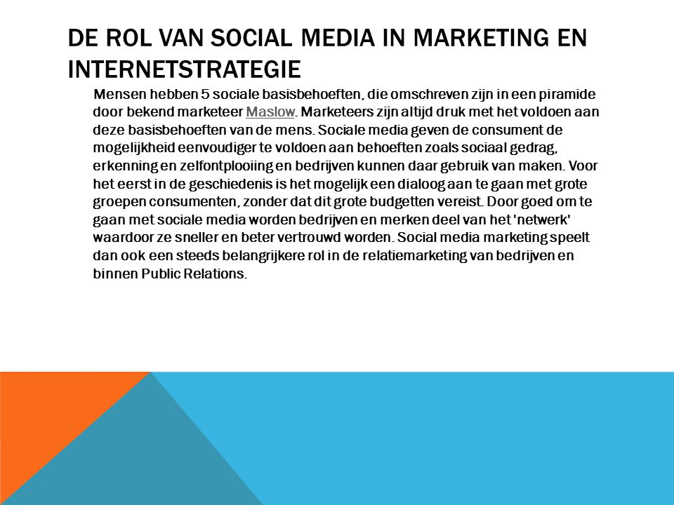 De rol van social media in marketing en internetstrategie