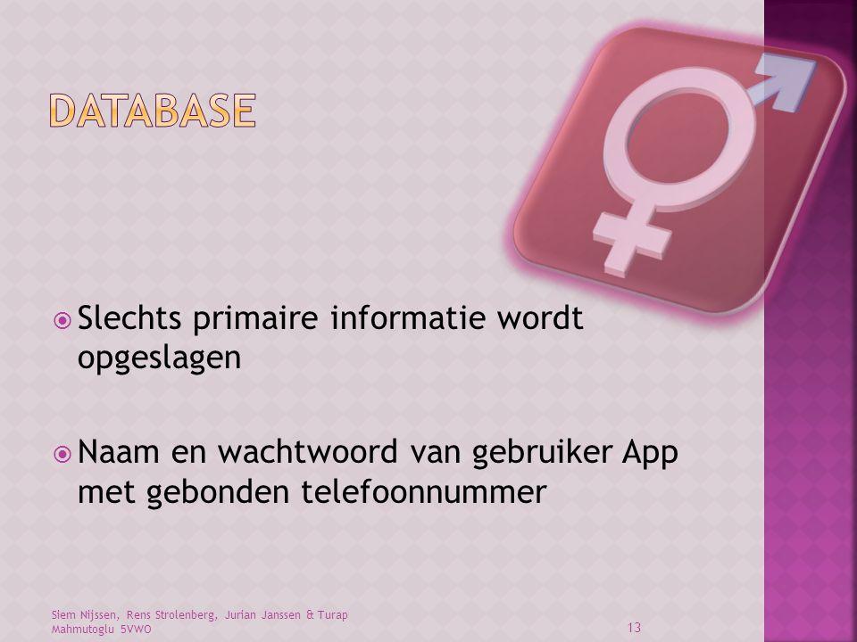 Database Slechts primaire informatie wordt opgeslagen