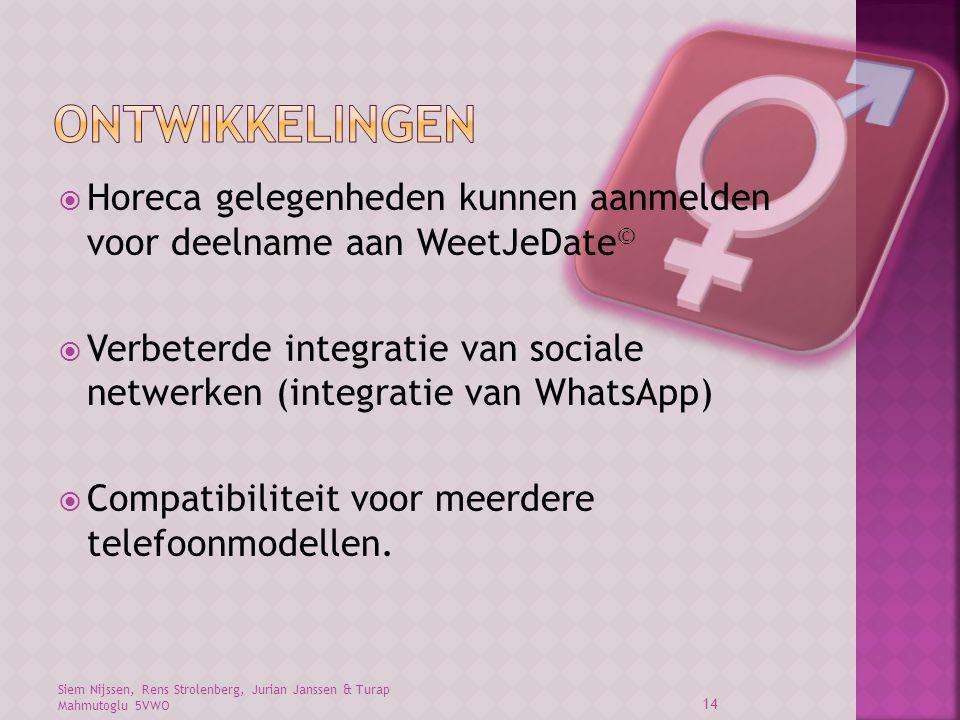 Ontwikkelingen Horeca gelegenheden kunnen aanmelden voor deelname aan WeetJeDate©