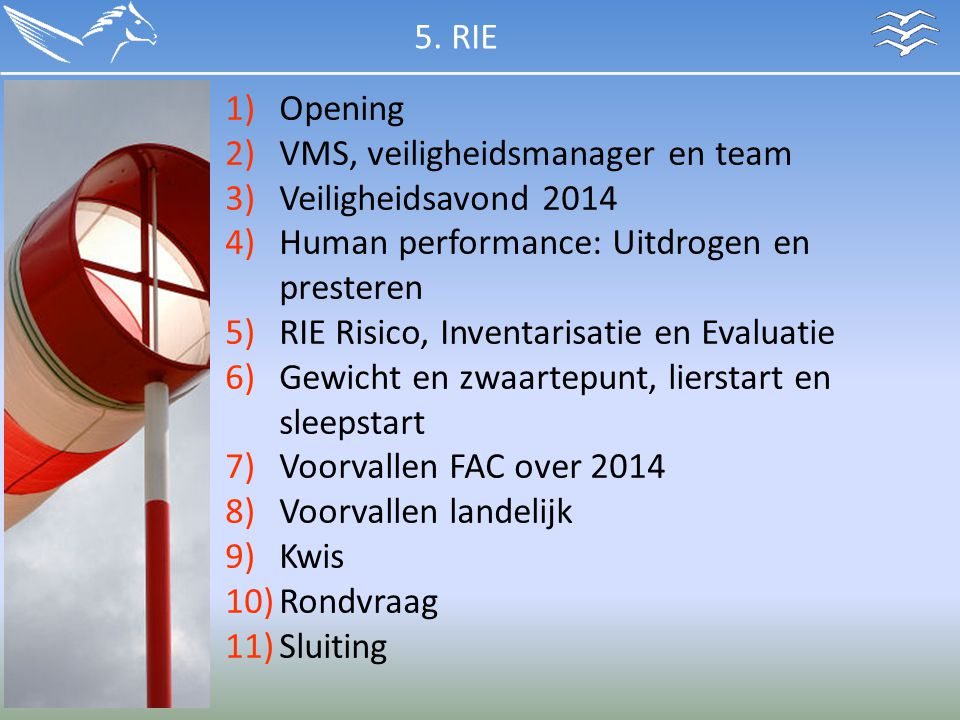 5. RIE Opening. VMS, veiligheidsmanager en team. Veiligheidsavond 2014. Human performance: Uitdrogen en presteren.