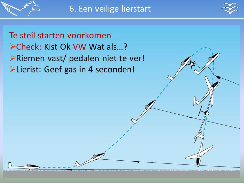 6. Een veilige lierstart Te steil starten voorkomen. Check: Kist Ok VW Wat als… Riemen vast/ pedalen niet te ver!