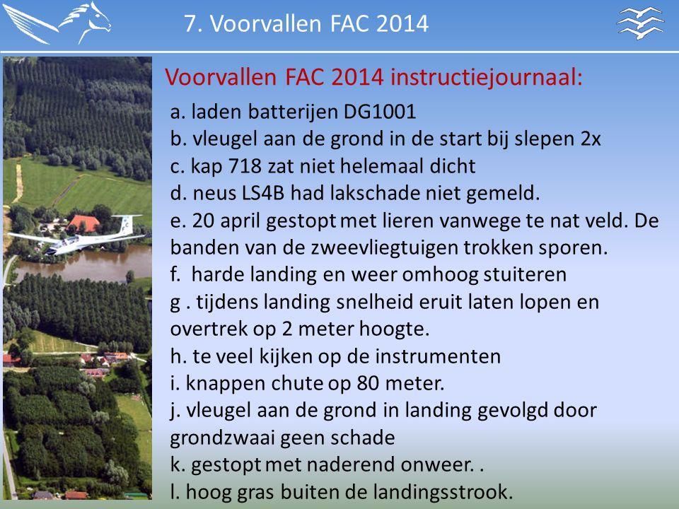 Voorvallen FAC 2014 instructiejournaal:
