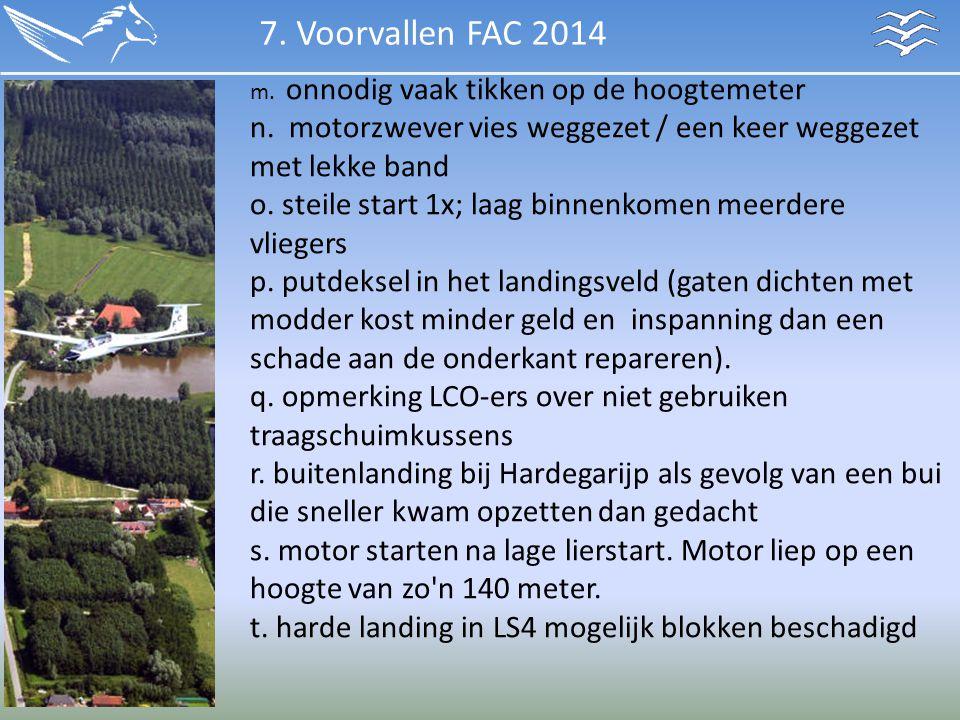 7. Voorvallen FAC 2014 m. onnodig vaak tikken op de hoogtemeter n. motorzwever vies weggezet / een keer weggezet met lekke band.