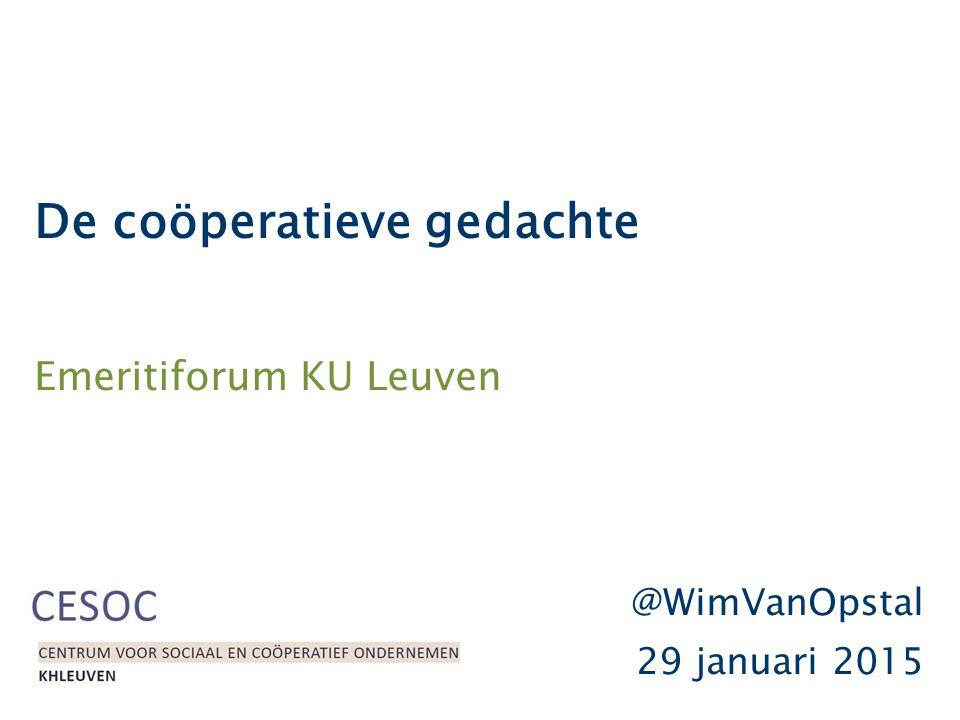 De coöperatieve gedachte Emeritiforum KU Leuven