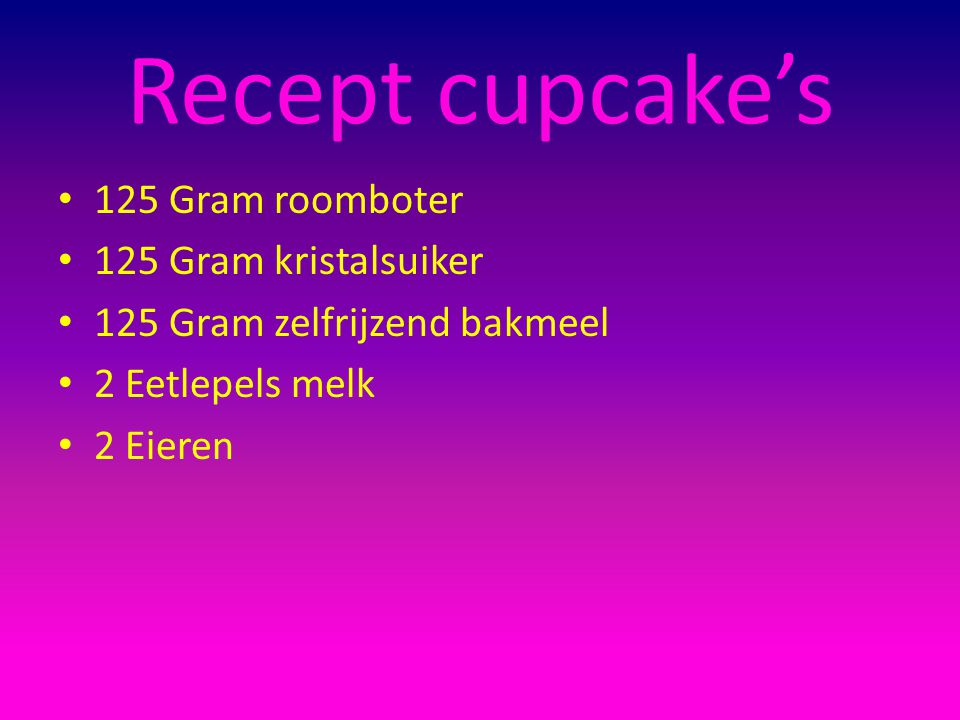 Recept cupcake's 125 Gram roomboter 125 Gram kristalsuiker