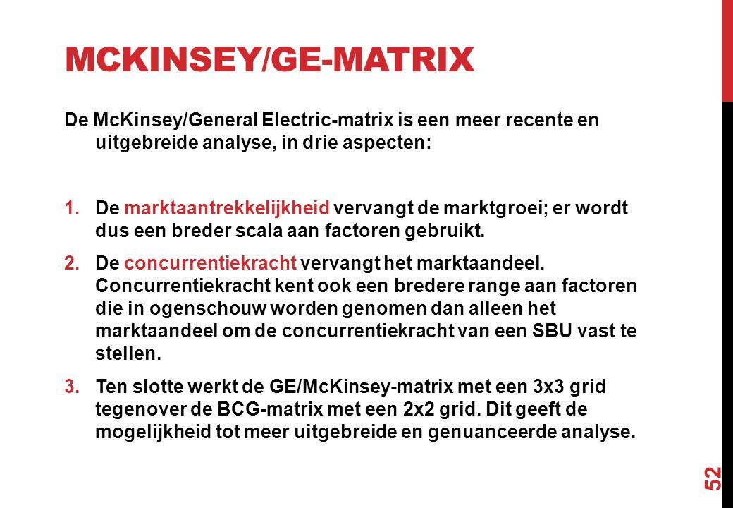 McKinsey/GE-matrix De McKinsey/General Electric-matrix is een meer recente en uitgebreide analyse, in drie aspecten:
