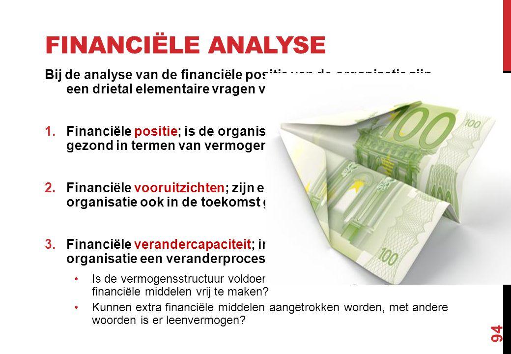 Financiële analyse Bij de analyse van de financiële positie van de organisatie zijn een drietal elementaire vragen van belang: