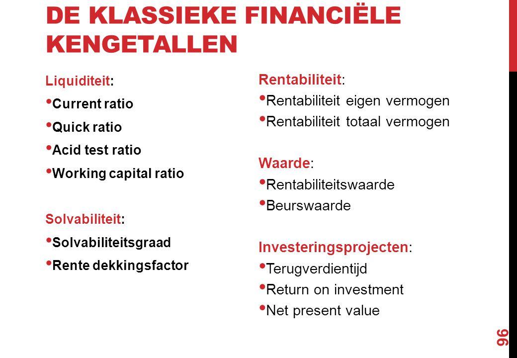 De klassieke financiële kengetallen