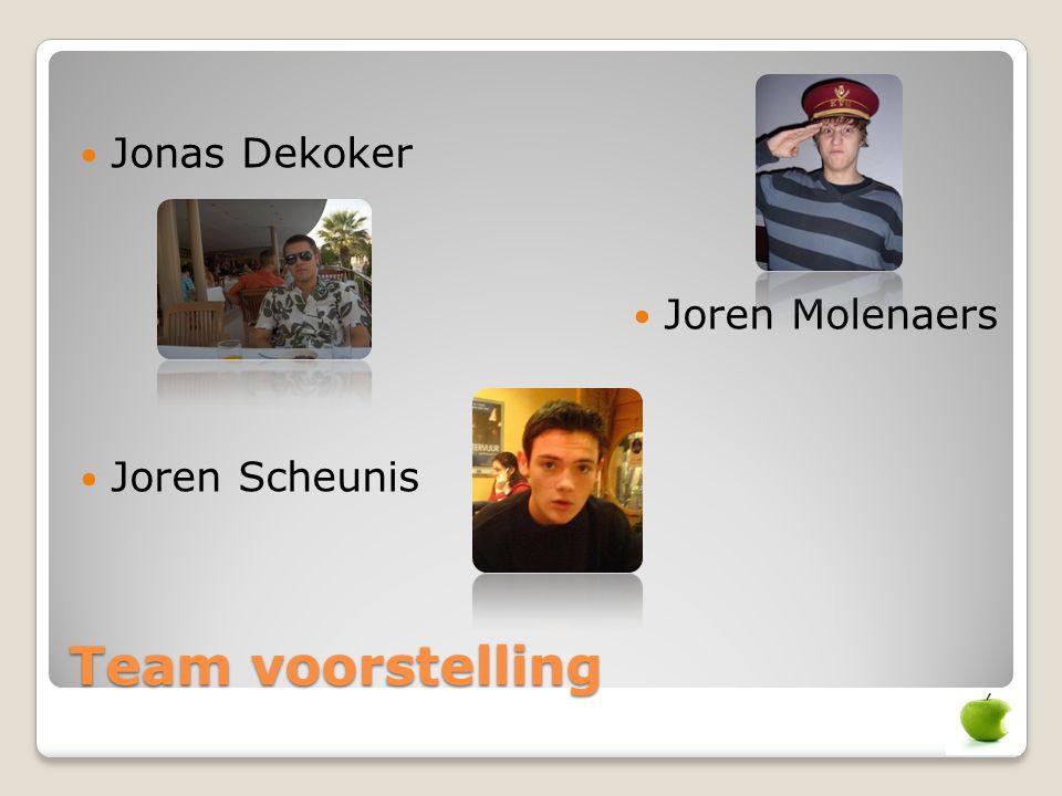 Jonas Dekoker Joren Molenaers Joren Scheunis Team voorstelling