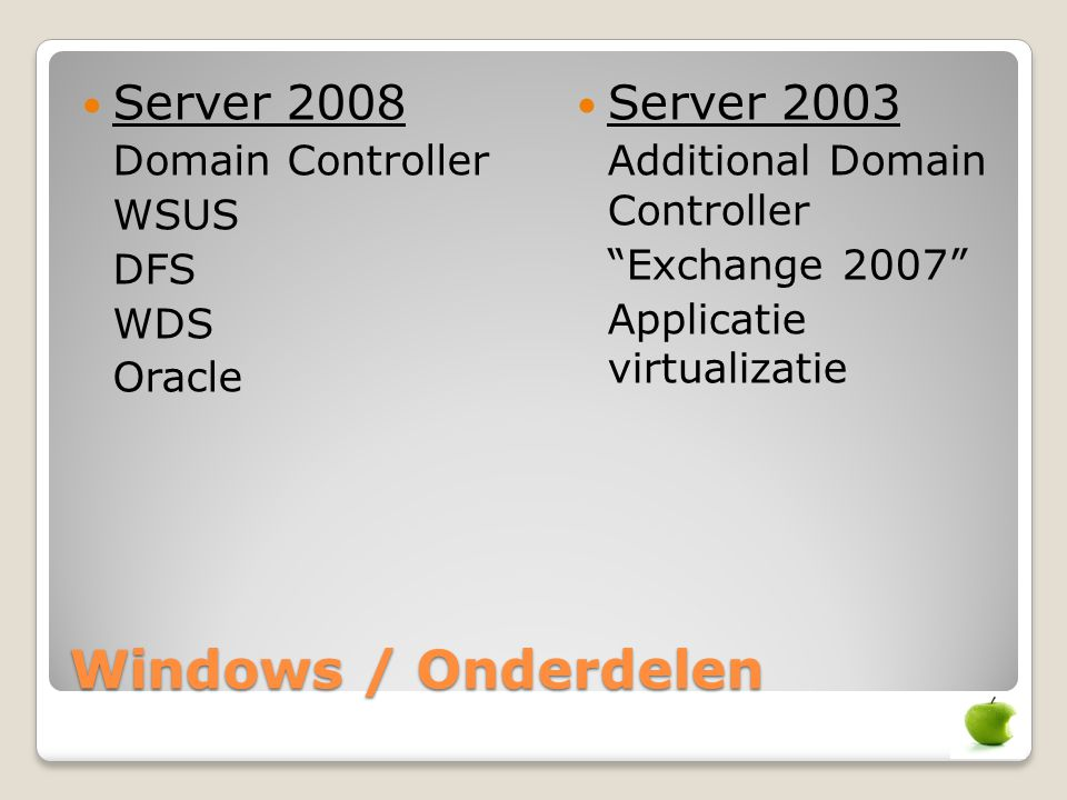 Windows / Onderdelen Server 2008 Server 2003