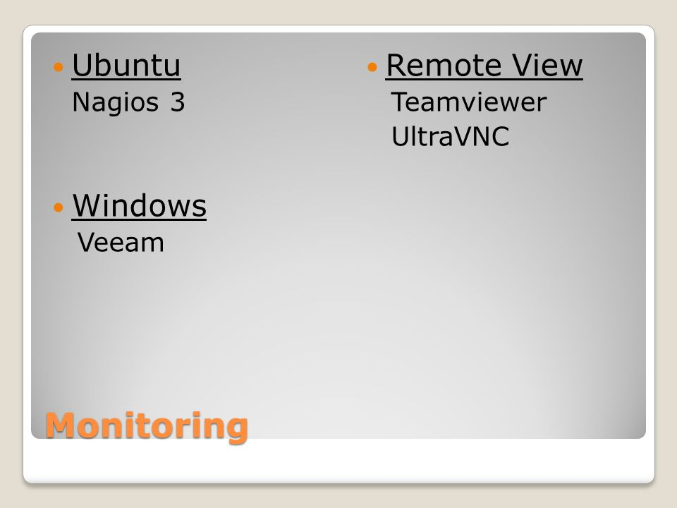Monitoring Ubuntu Windows Remote View Teamviewer UltraVNC Veeam