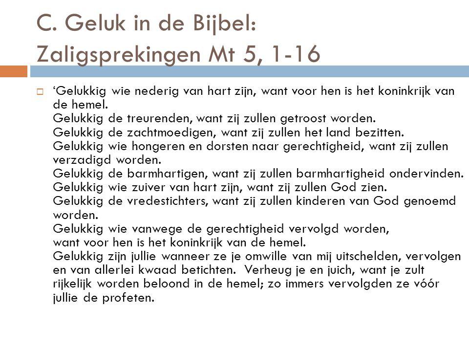 C. Geluk in de Bijbel: Zaligsprekingen Mt 5, 1-16