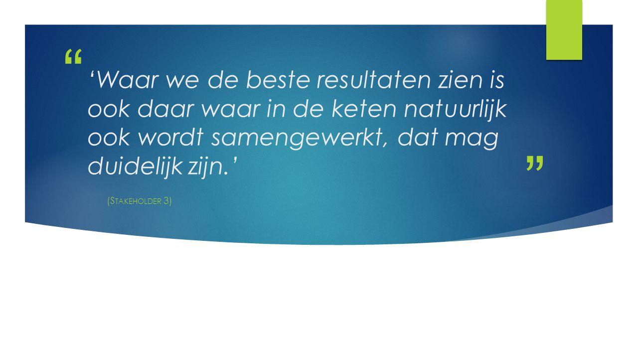 'Waar we de beste resultaten zien is ook daar waar in de keten natuurlijk ook wordt samengewerkt, dat mag duidelijk zijn.'