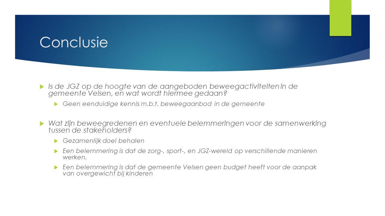 Conclusie Is de JGZ op de hoogte van de aangeboden beweegactiviteiten in de gemeente Velsen, en wat wordt hiermee gedaan
