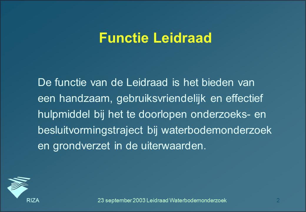 23 september 2003 Leidraad Waterbodemonderzoek