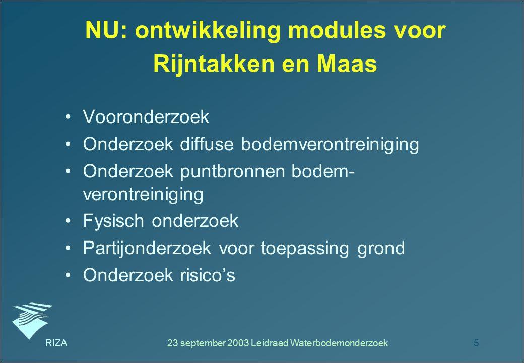 NU: ontwikkeling modules voor Rijntakken en Maas