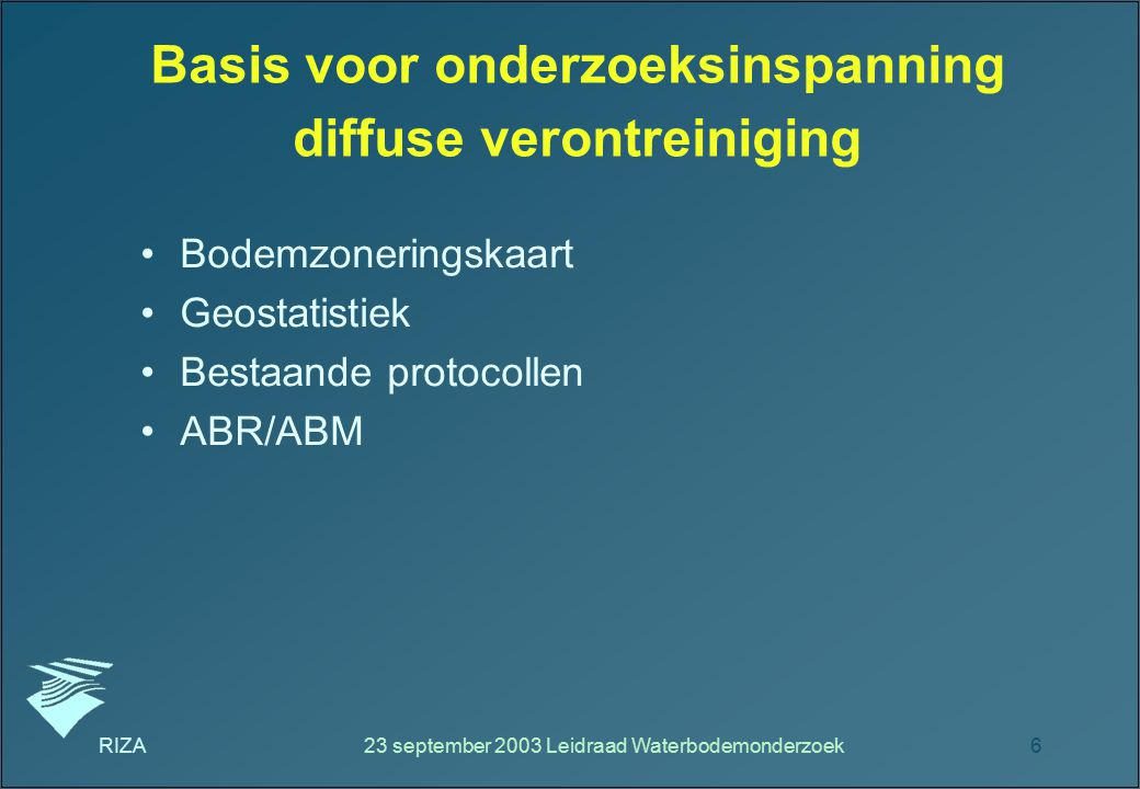 Basis voor onderzoeksinspanning diffuse verontreiniging