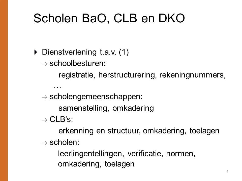 Scholen BaO, CLB en DKO Dienstverlening t.a.v. (1) schoolbesturen: