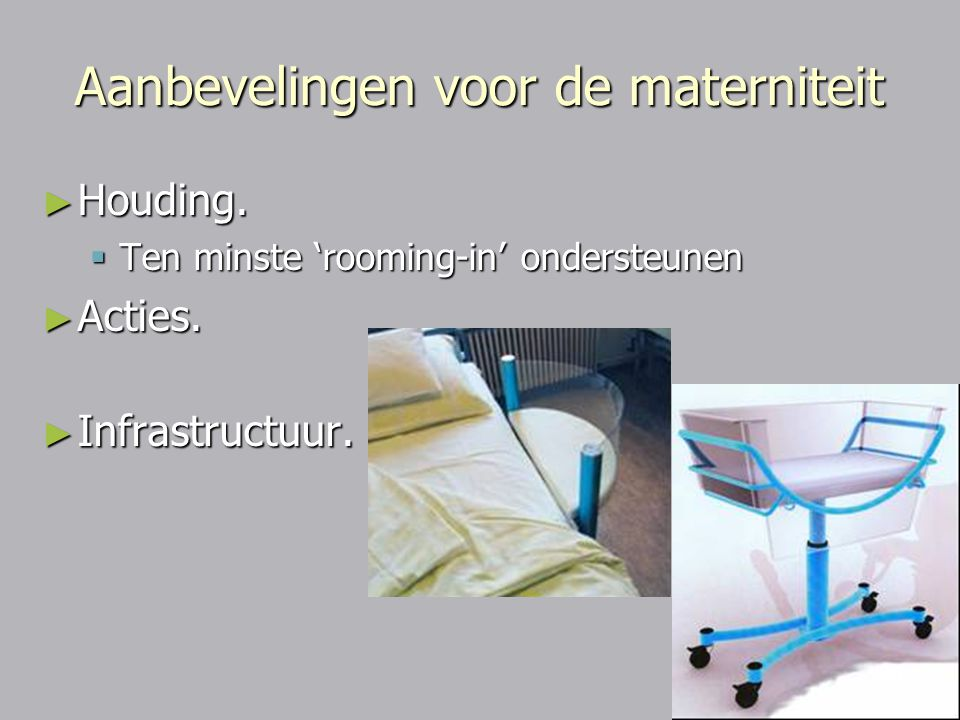 Aanbevelingen voor de materniteit