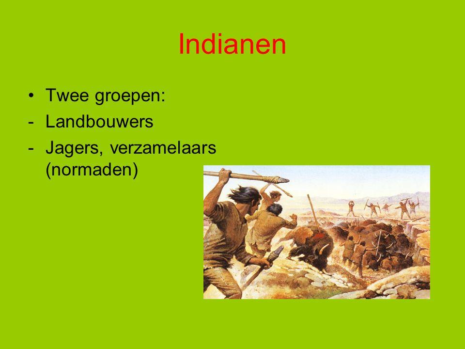 Indianen Twee groepen: Landbouwers Jagers, verzamelaars (normaden)