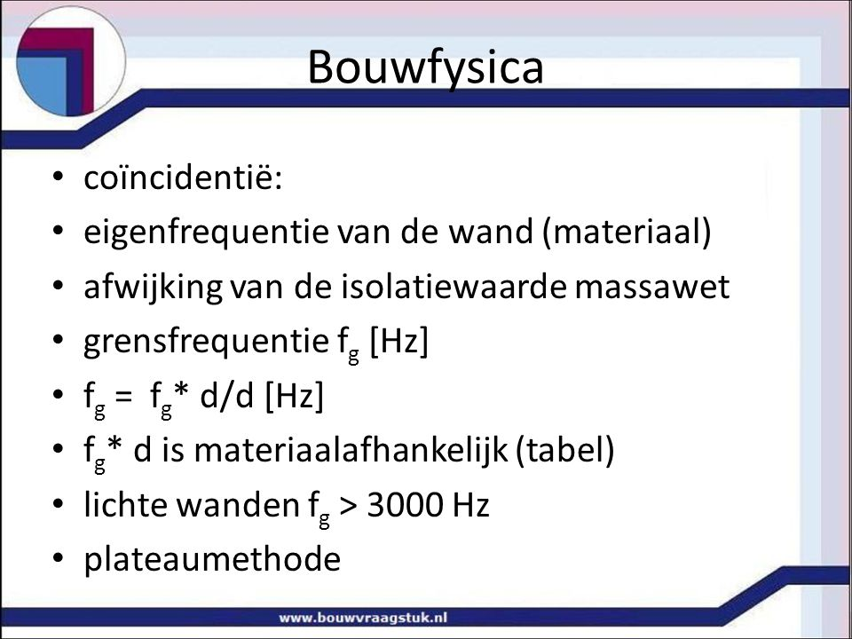 Bouwfysica coïncidentië: eigenfrequentie van de wand (materiaal)
