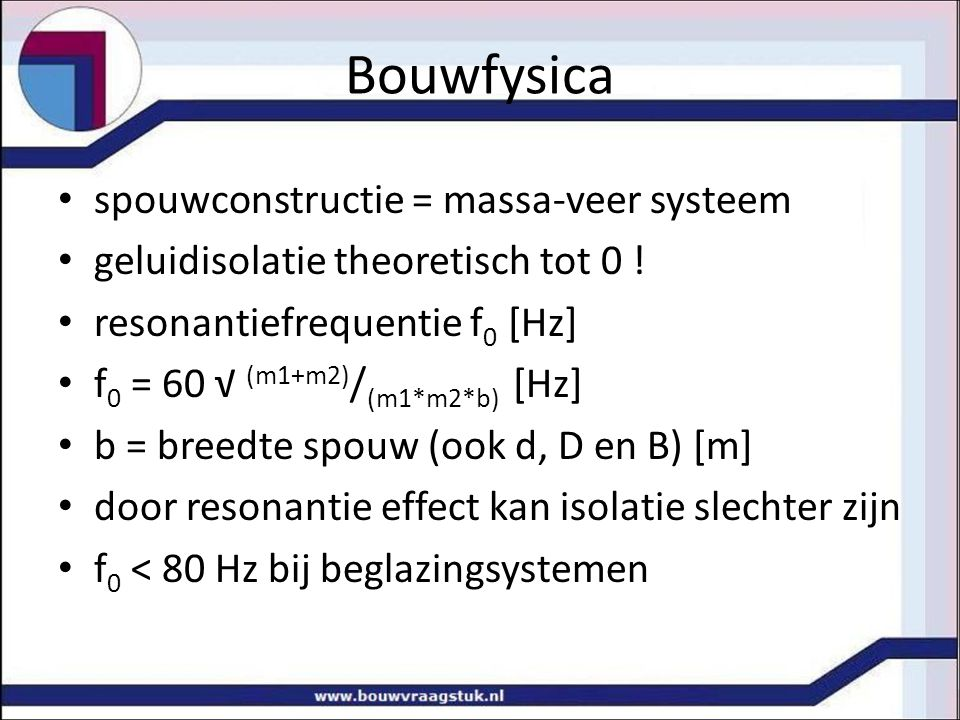 Bouwfysica spouwconstructie = massa-veer systeem