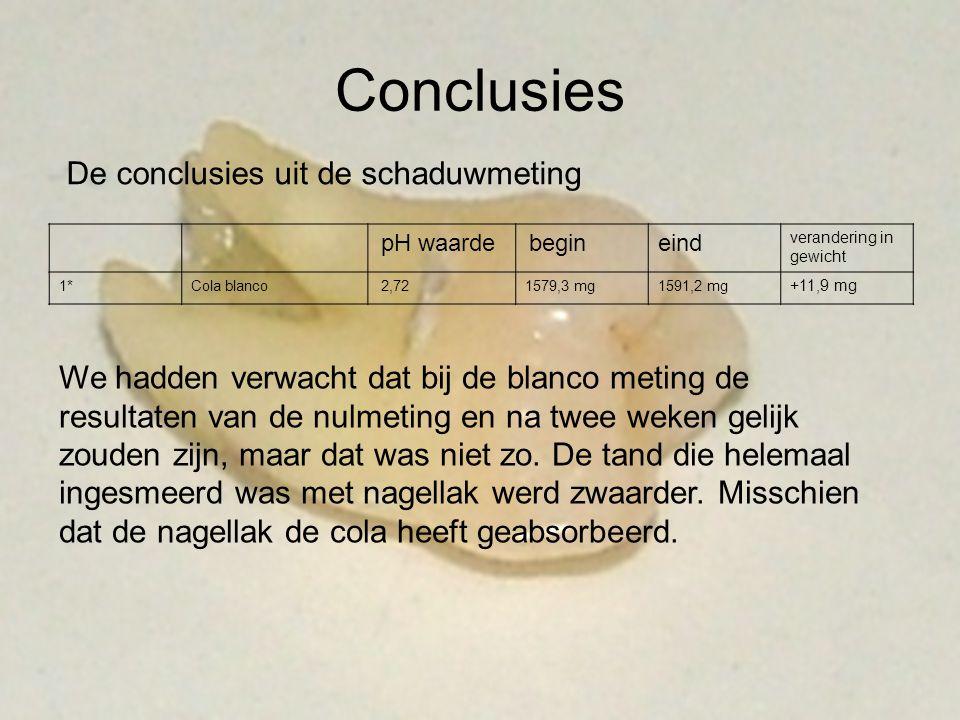 Conclusies De conclusies uit de schaduwmeting