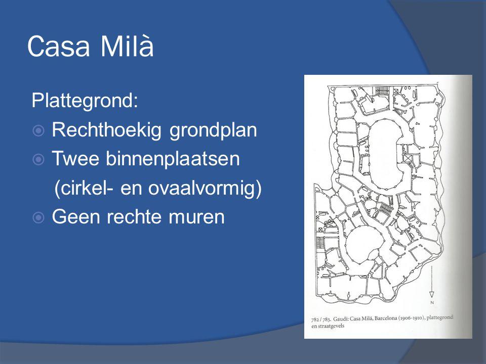 Casa Milà Plattegrond: Rechthoekig grondplan Twee binnenplaatsen