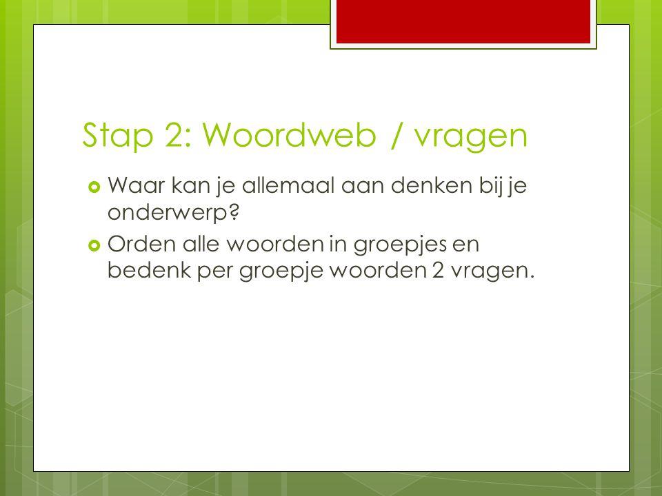 Stap 2: Woordweb / vragen