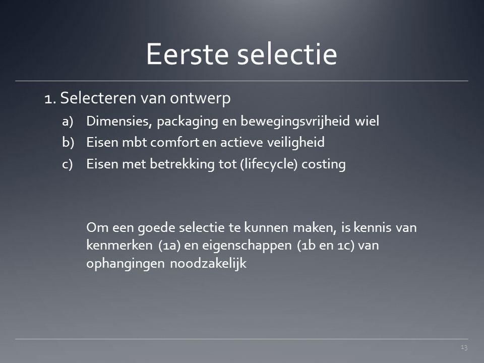 Eerste selectie 1. Selecteren van ontwerp