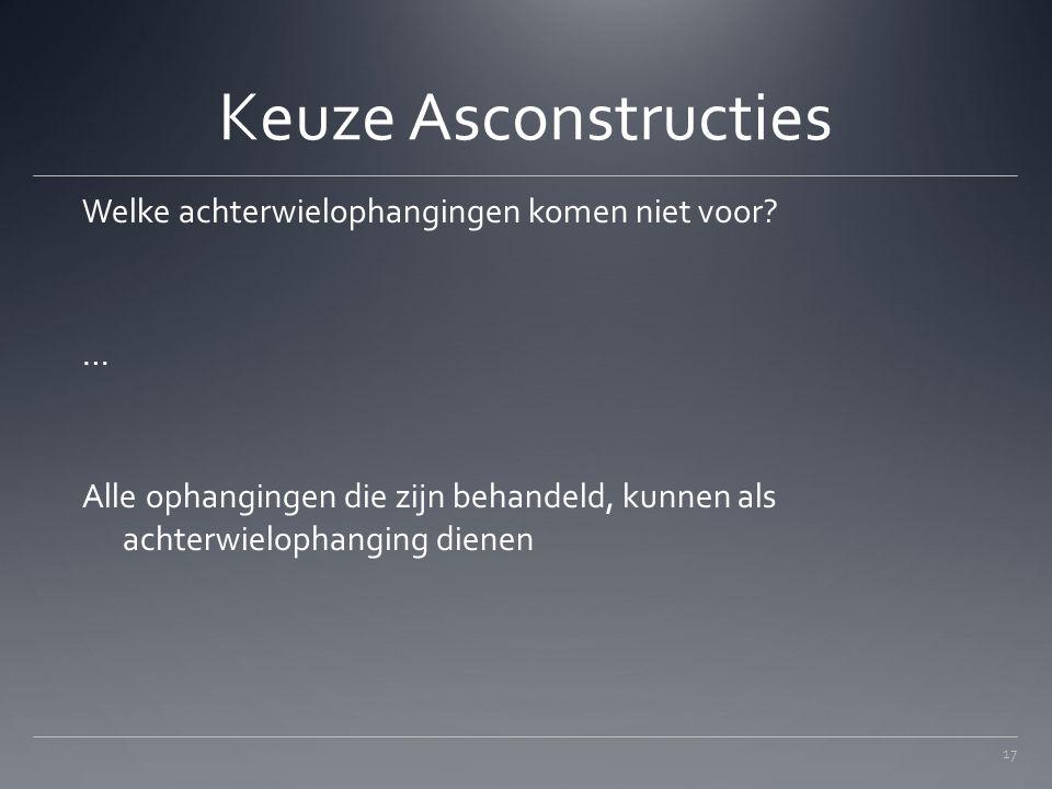 Keuze Asconstructies Welke achterwielophangingen komen niet voor.