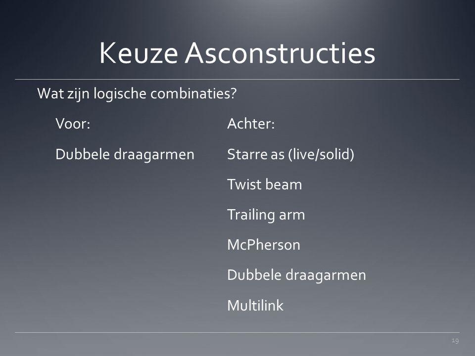 Keuze Asconstructies Wat zijn logische combinaties Voor: Achter: