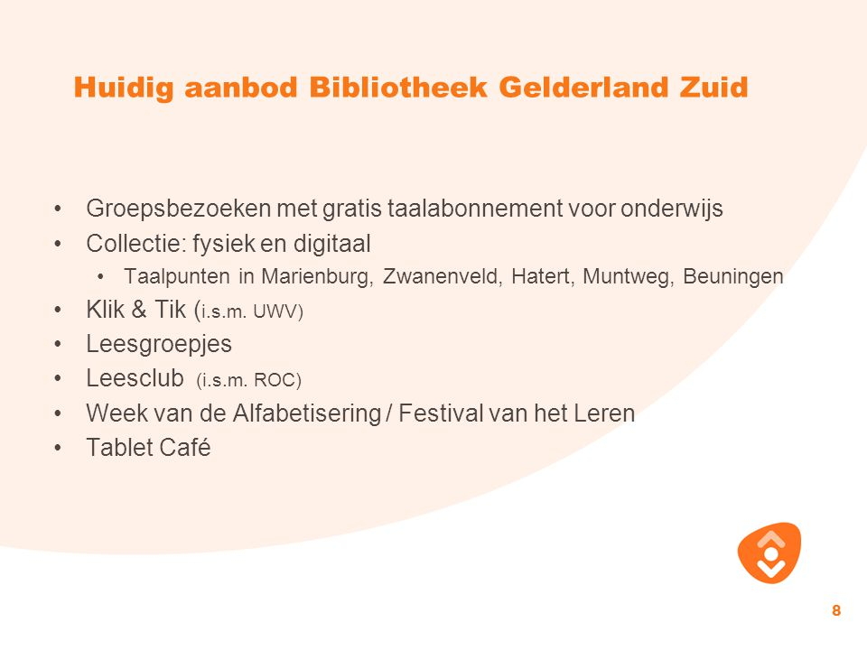 Huidig aanbod Bibliotheek Gelderland Zuid