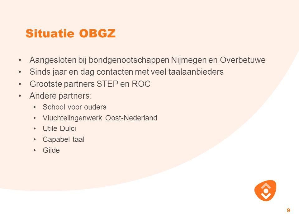 Situatie OBGZ Aangesloten bij bondgenootschappen Nijmegen en Overbetuwe. Sinds jaar en dag contacten met veel taalaanbieders.