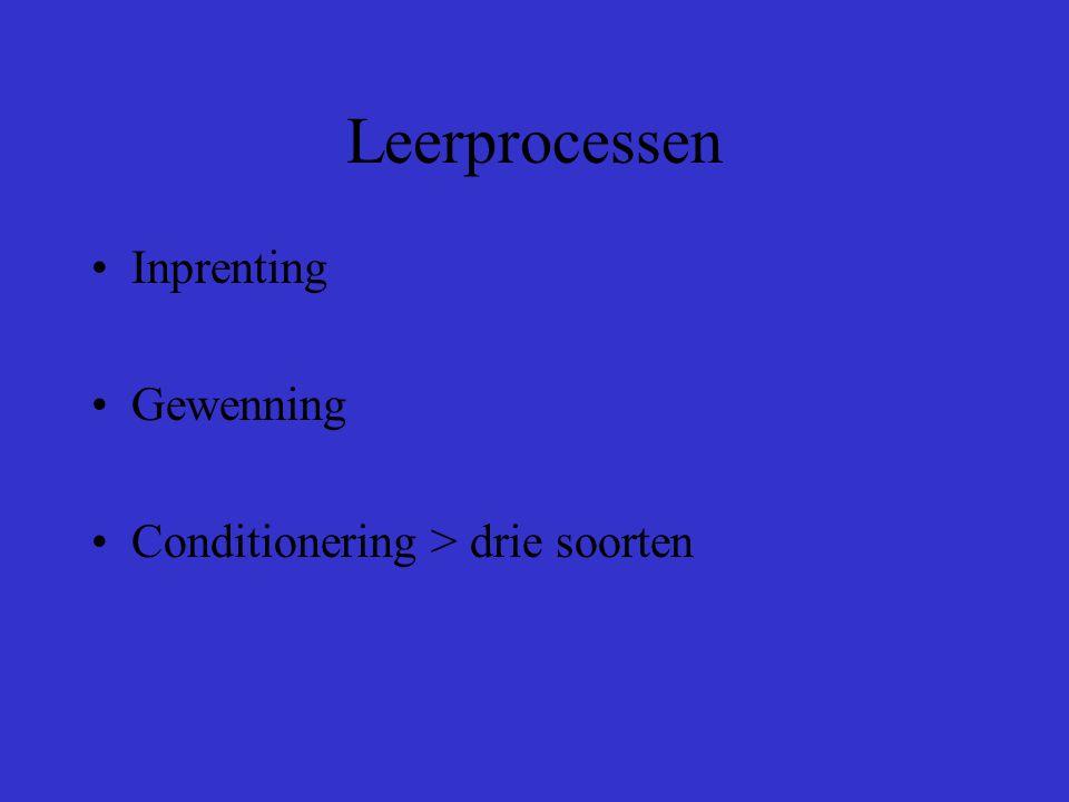 Leerprocessen Inprenting Gewenning Conditionering > drie soorten