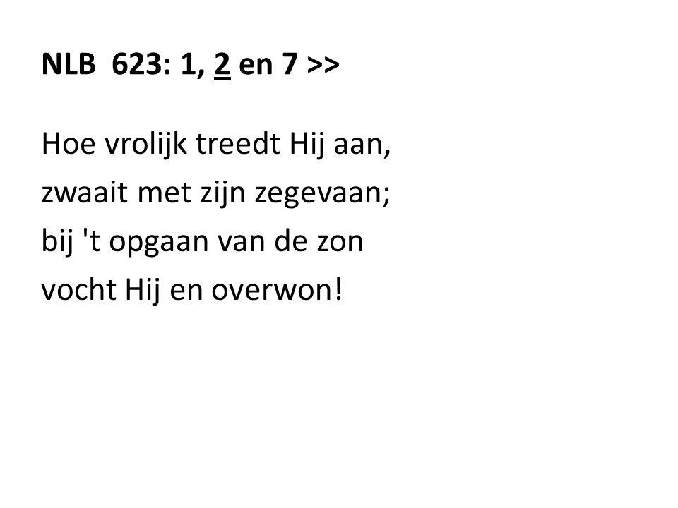 NLB 623: 1, 2 en 7 >> Hoe vrolijk treedt Hij aan, zwaait met zijn zegevaan; bij t opgaan van de zon.