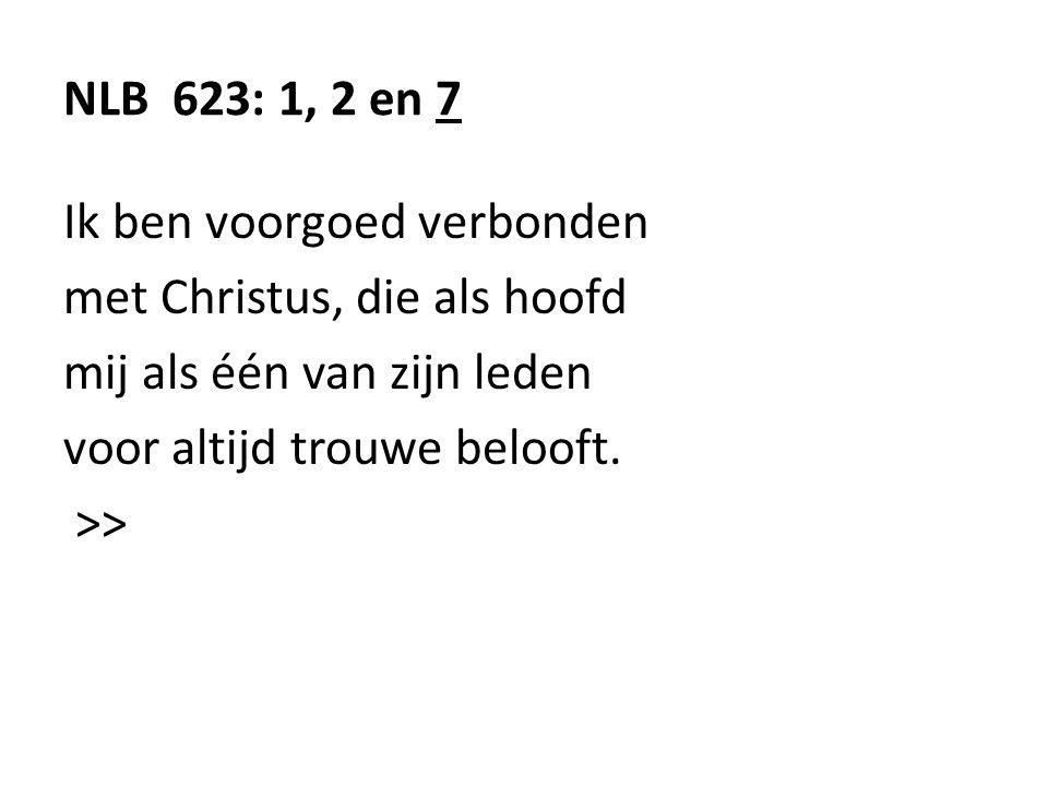 NLB 623: 1, 2 en 7 Ik ben voorgoed verbonden. met Christus, die als hoofd. mij als één van zijn leden.