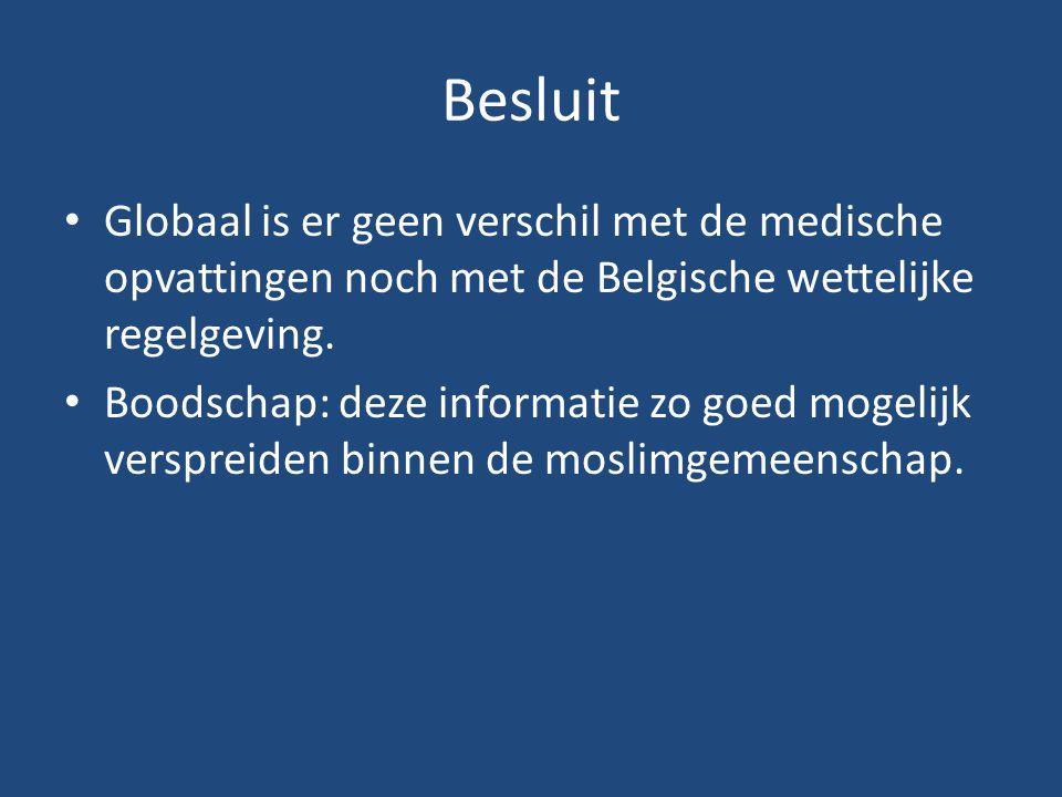 Besluit Globaal is er geen verschil met de medische opvattingen noch met de Belgische wettelijke regelgeving.