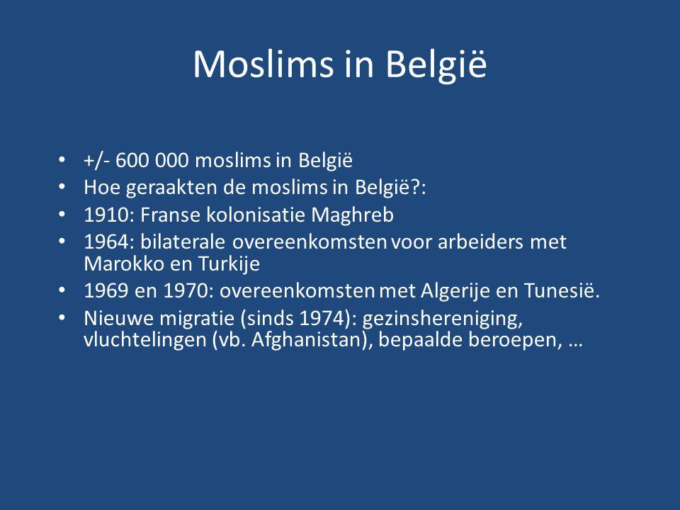 Moslims in België +/- 600 000 moslims in België