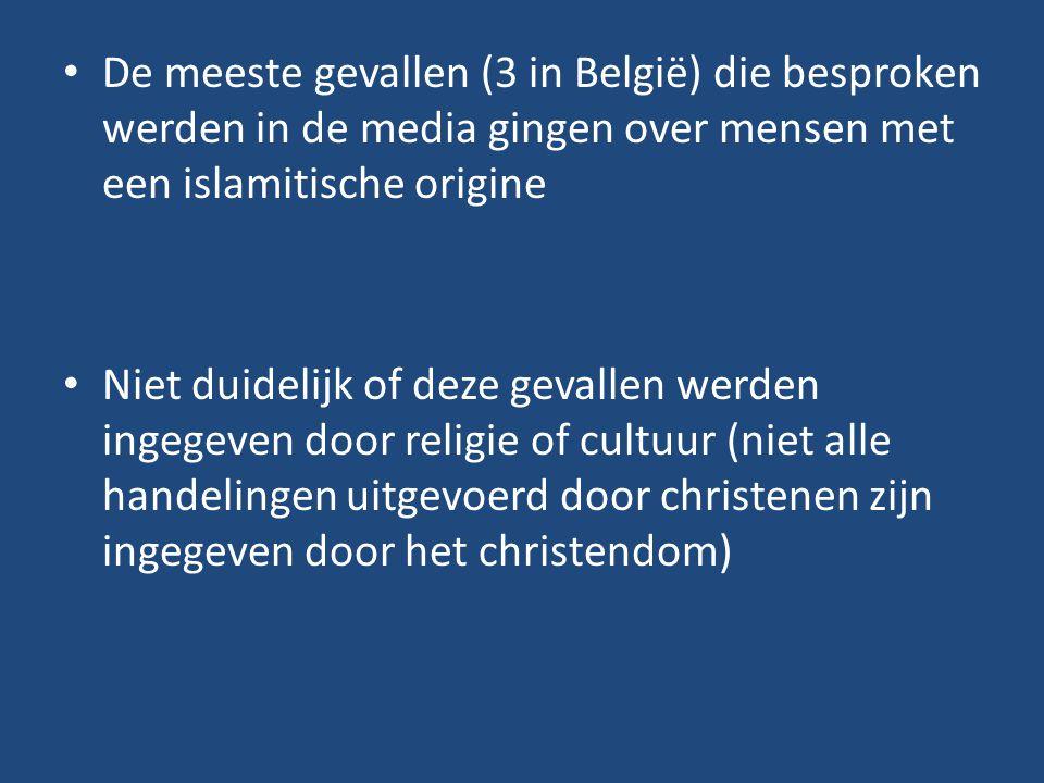 De meeste gevallen (3 in België) die besproken werden in de media gingen over mensen met een islamitische origine