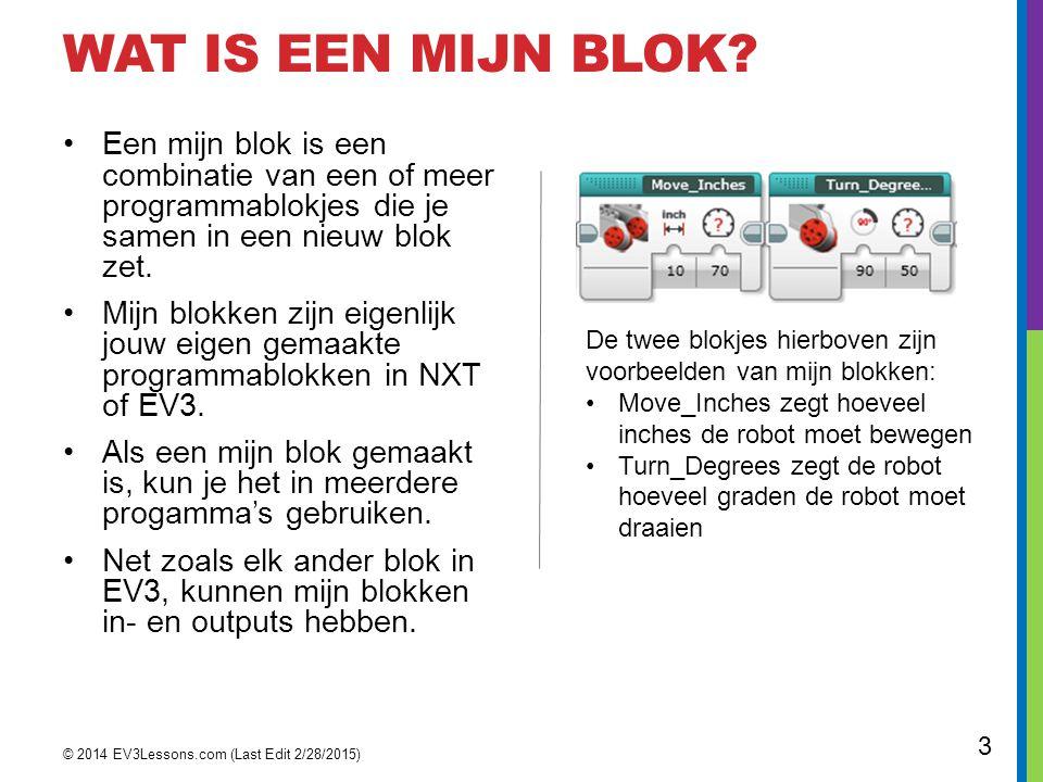 Wat is een mijn blok Een mijn blok is een combinatie van een of meer programmablokjes die je samen in een nieuw blok zet.